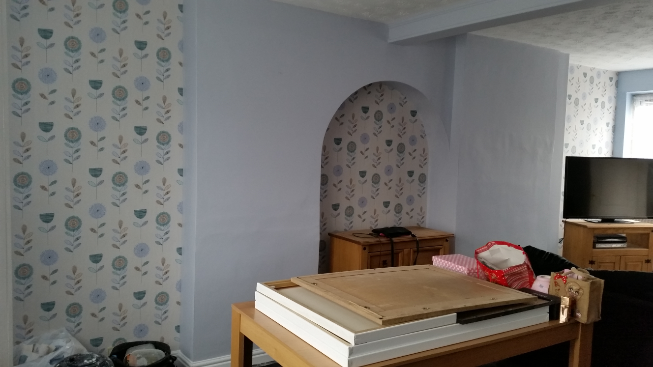 Wallpapering and painting an alcove - after