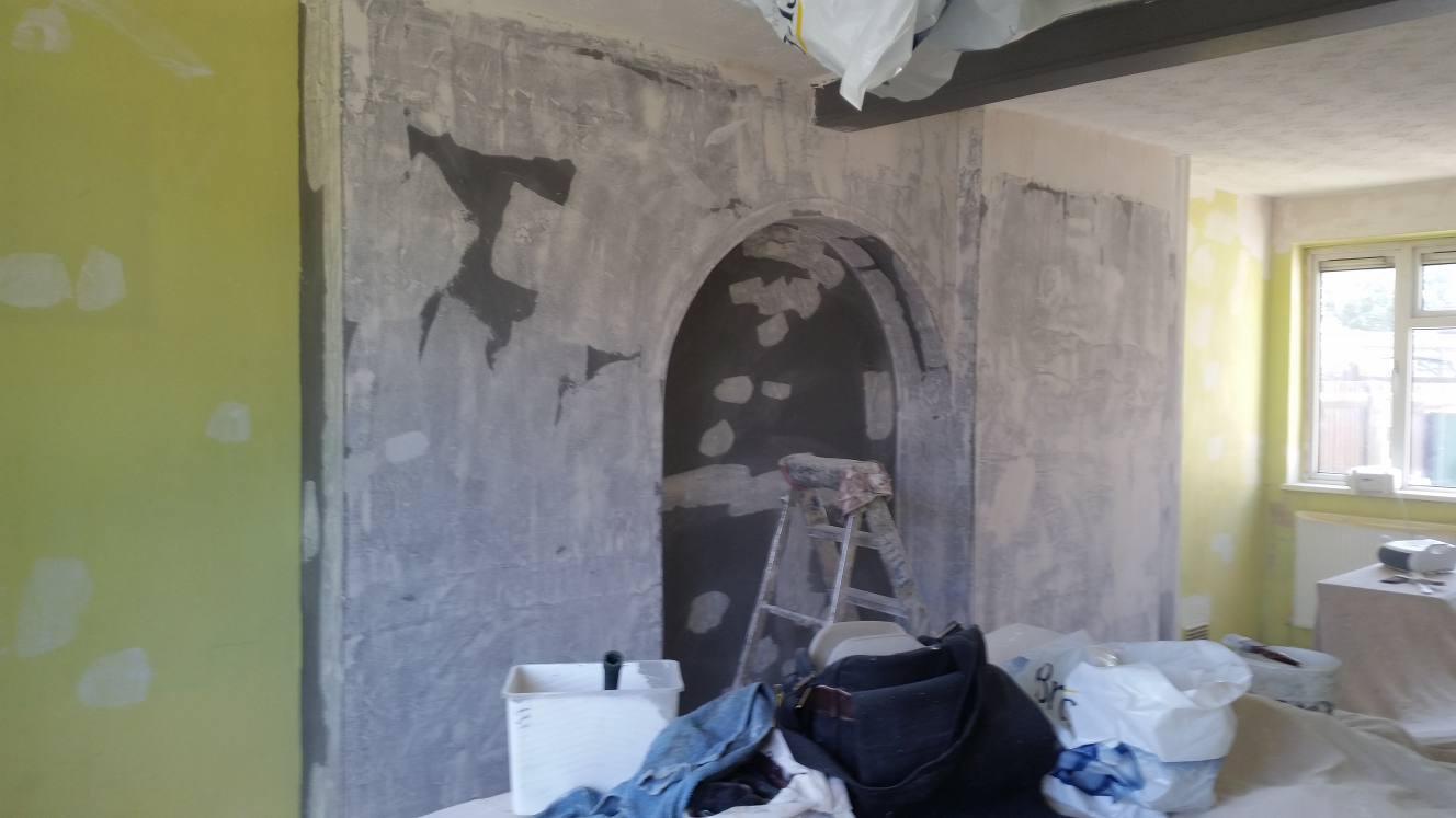 Wallpapering and painting an alcove - before