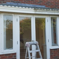 Cleaning of UPVC Fascia before Preparation to Windows, Mildenhall (During)